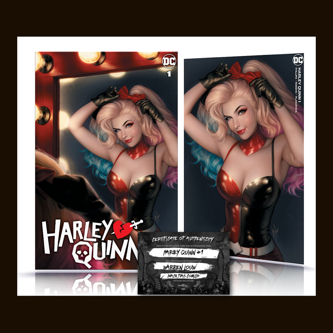 Signed w/COA Harley Quinn #1 Warren Louw Cover Art