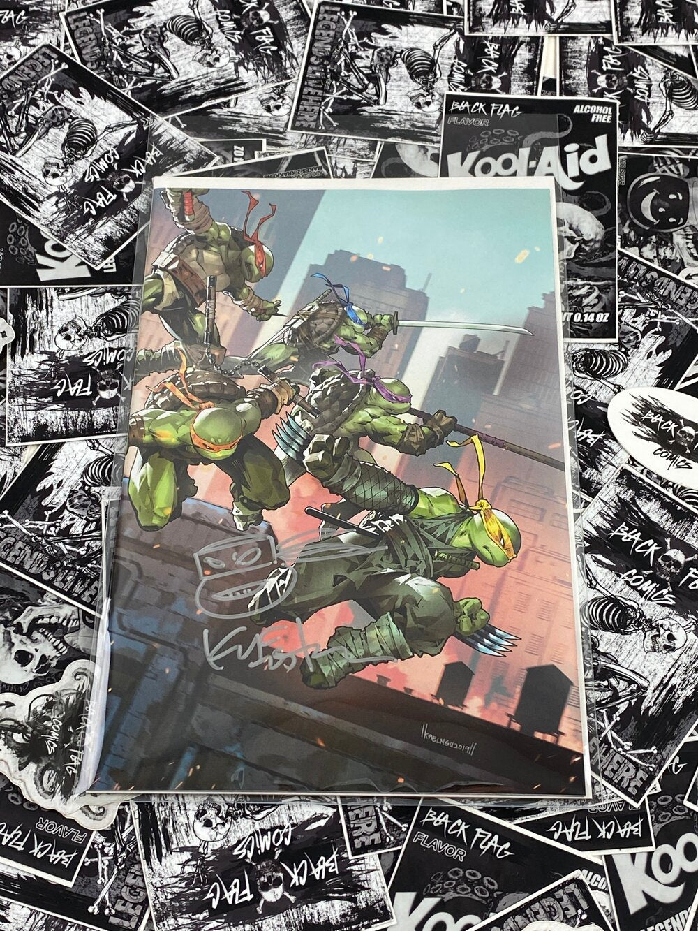 TMNT #97 Kael Ngu Virgin Variant Signed and Remarked by Kevin Eastman