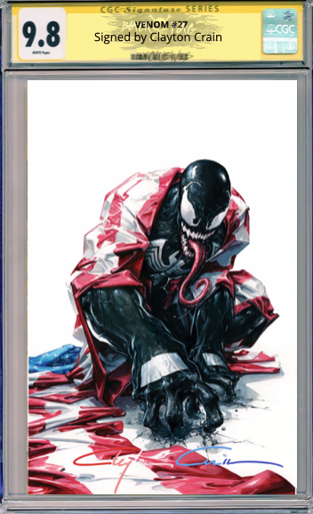 CGC Signature Series 9.8  Clayton Crain Infinity Red/White/Blue Venom #27 Virgin