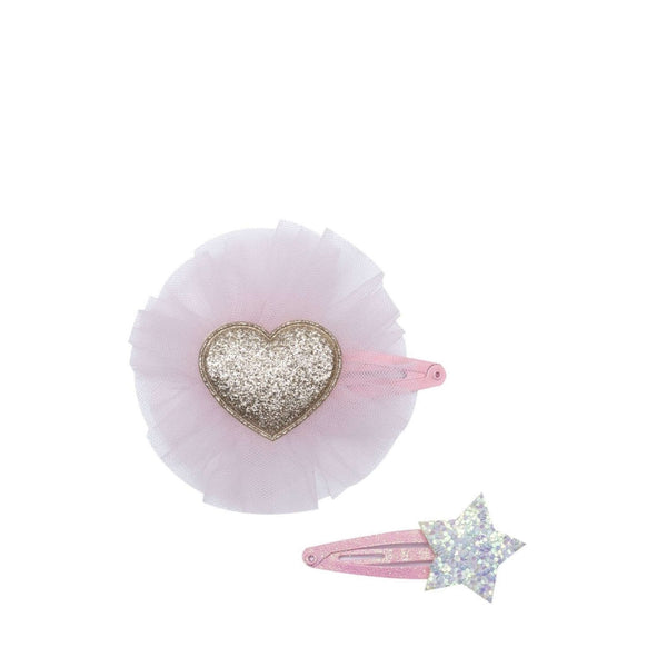 Pink Tulle<br>Sparkly Heart Clip
