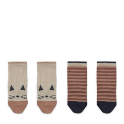 Silas Cotton Socks – 2 Pack Cat / Stripe Coral blush