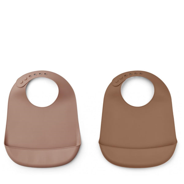 Tilda Silicone bib solid - 2 Pack Dark Rose / Terracotta Mix