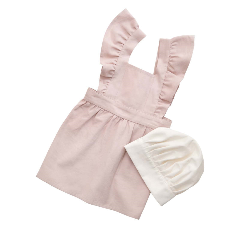 Apron and Hat Set <br> Dusty Pink and White