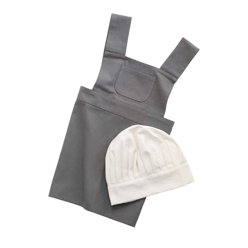 Apron and Hat Set <br> Elephant Grey and White