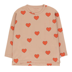 """Hearts"" Tee<br>Light Nude / Red"