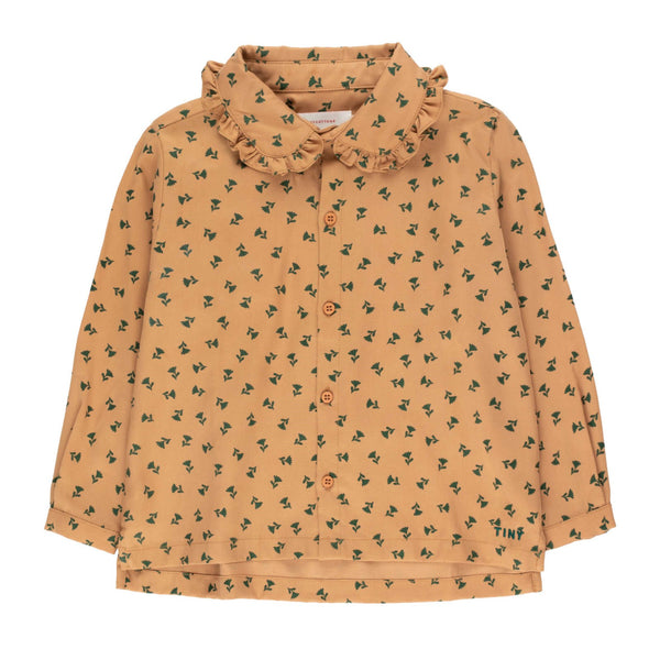 """Tiny Flowers"" Shirt<br>Light Brown / Dark Green"