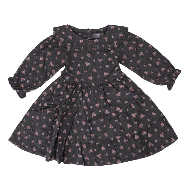 Puff Sleeved Flower Print Dress Dark Brown