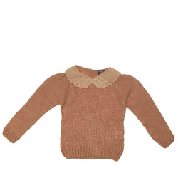 Open-Work Ribbed Knit Sweater Pink