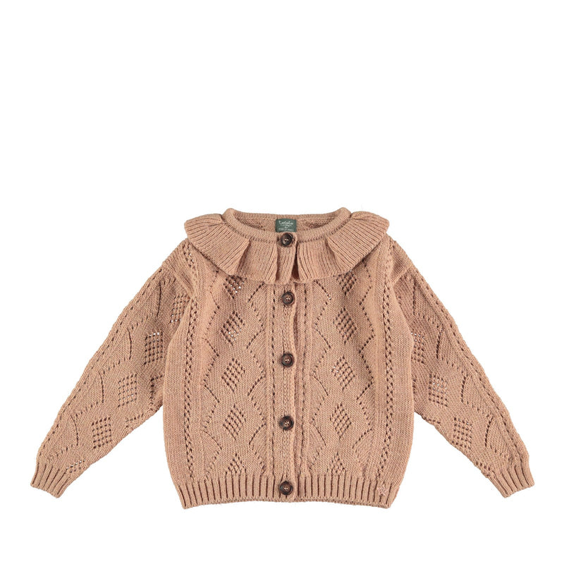 Knitted Open-Work Cardigan Pink
