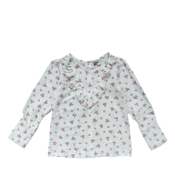 Ruffled Flower Print Blouse Off-White