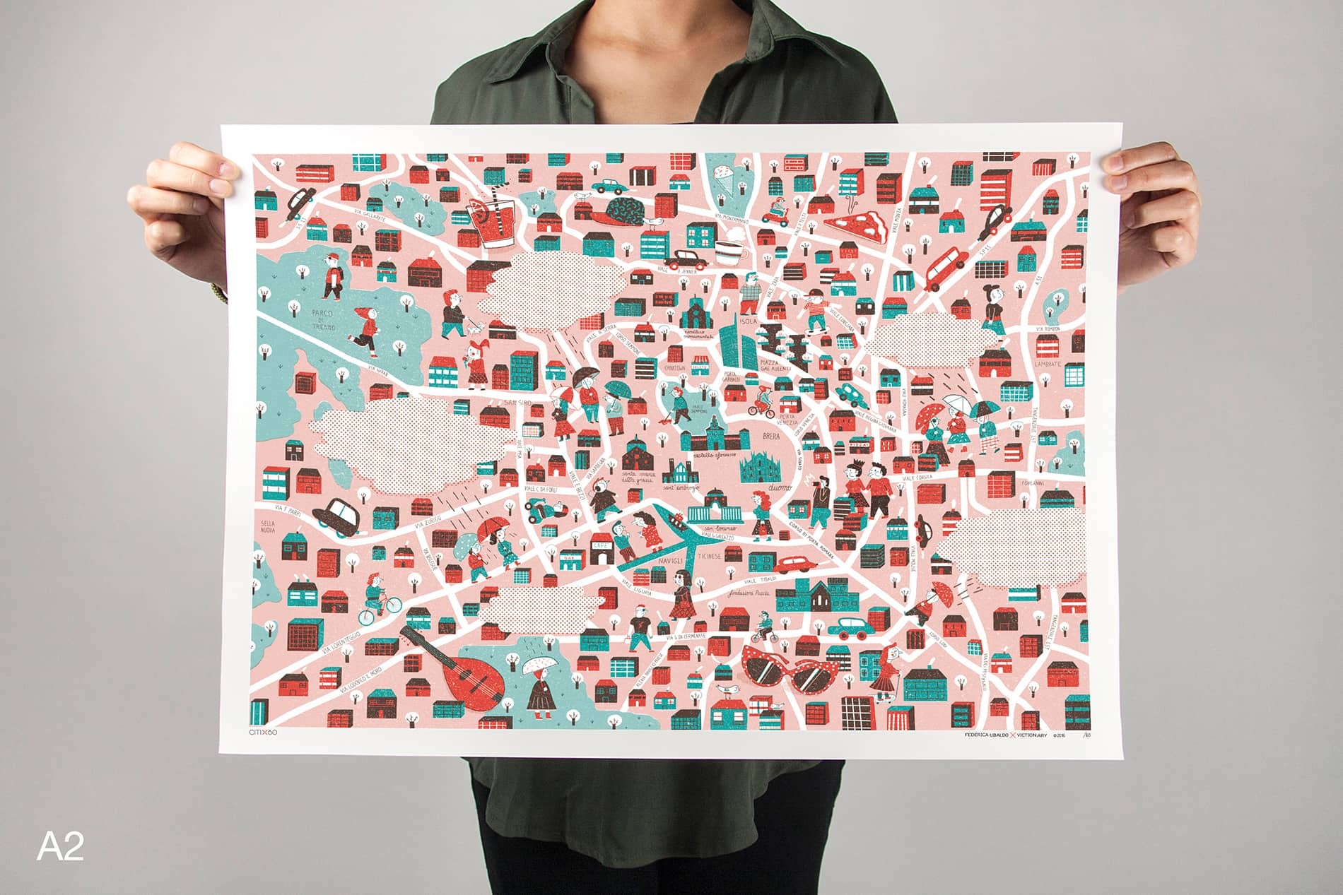 CITIx60 Art Print: Milan City Map
