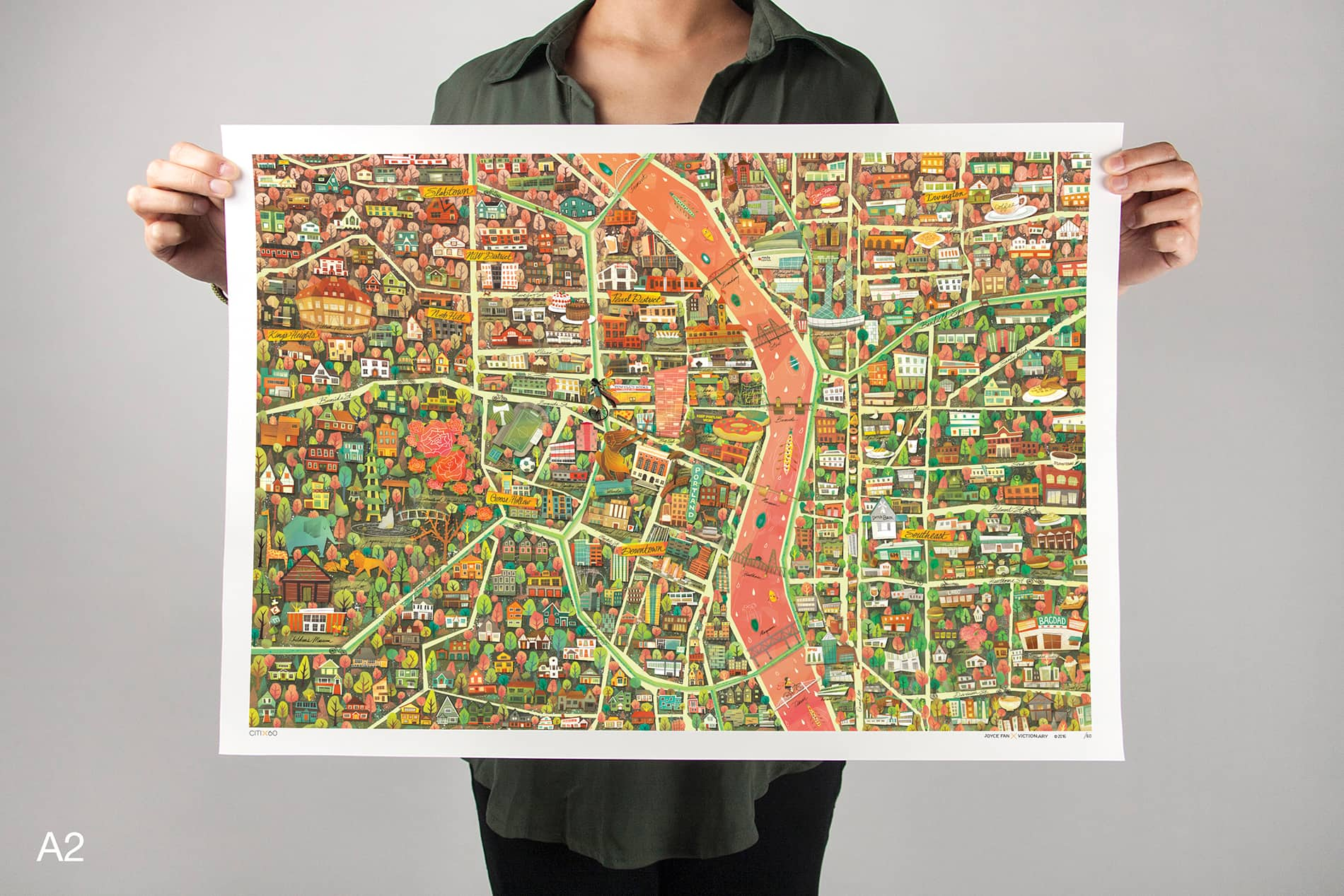 CITIx60 Art Print: Portland City Map