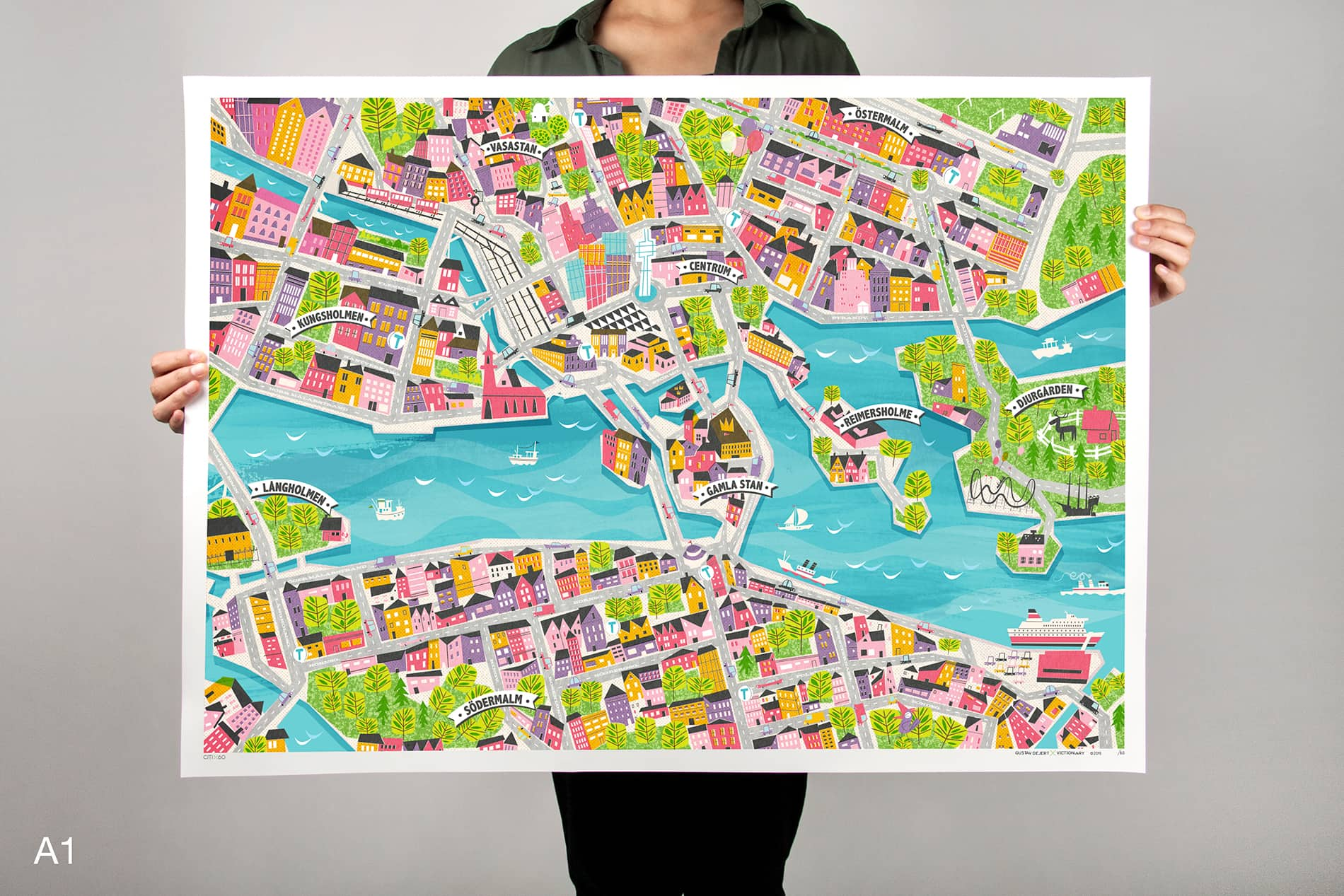 CITIx60 Art Print: Stockholm City Map