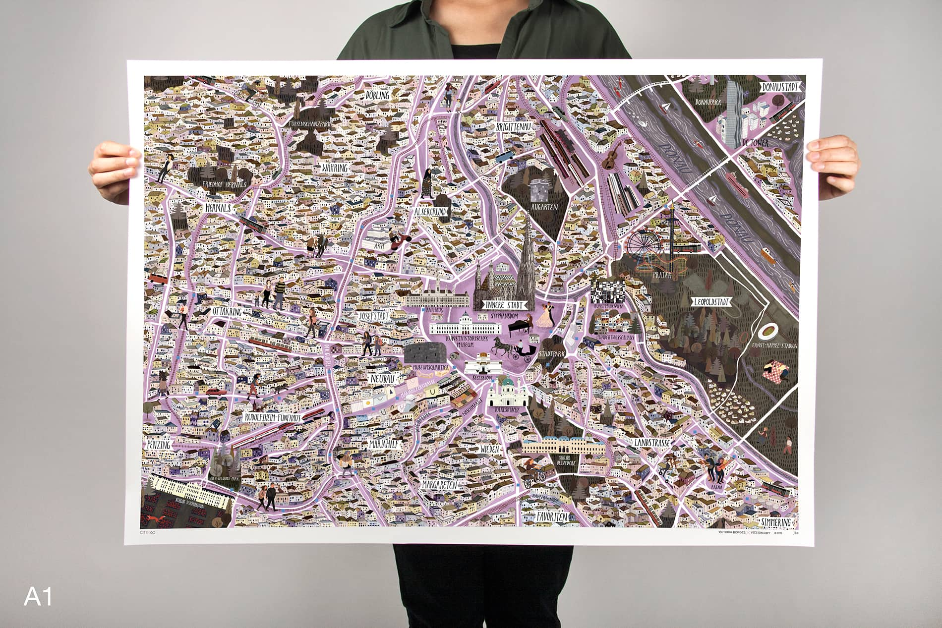 CITIx60 Art Print: Vienna City Map