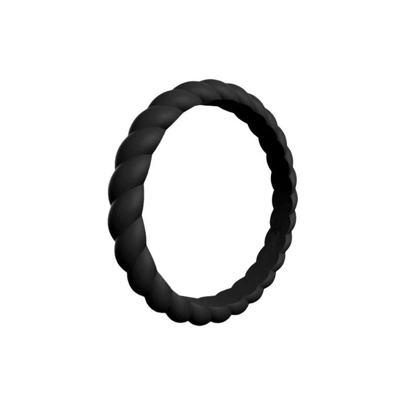 Braided - Black Silicone Rings |  halobands