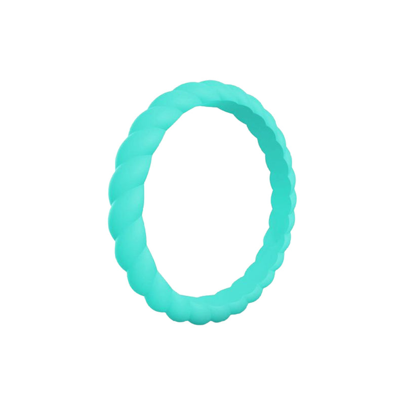 Braided - Aqua Silicone Rings |  halobands
