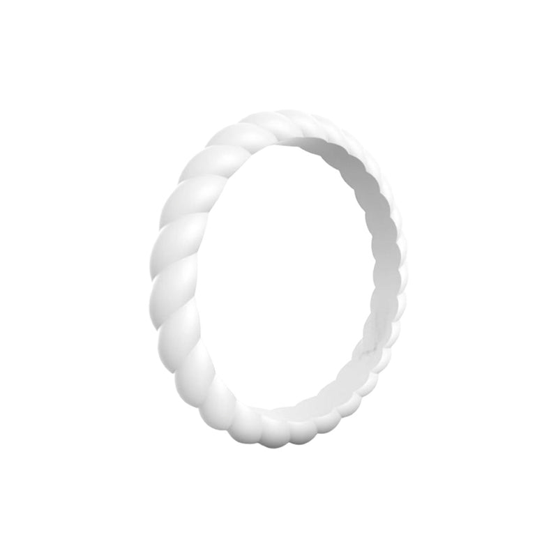 Braided - White Silicone Rings |  halobands