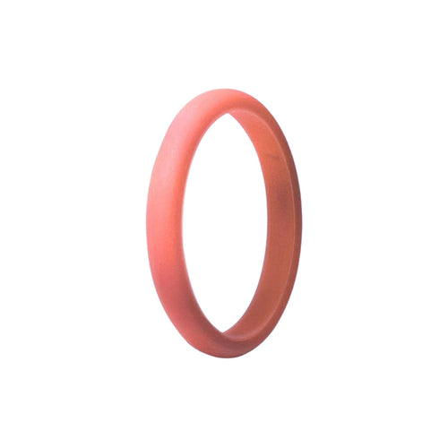 Narrow Smooth Ring - Coral Silicone Rings |  halobands