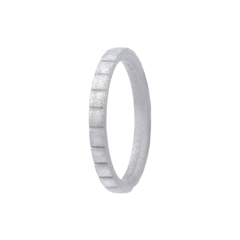 Narrow Rib - Silver Silicone Rings |  halobands