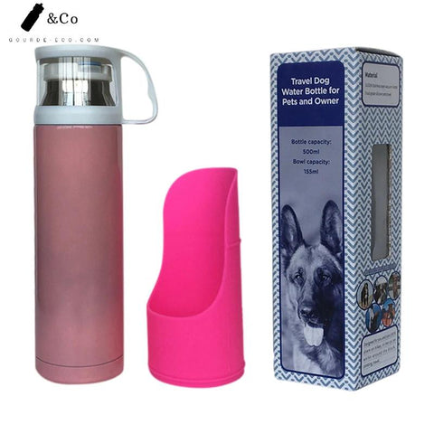 Gourde Isotherme Chien Rose