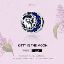 Load image into Gallery viewer, Moon & Star Cat Blue Enamel Charm