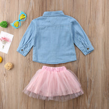 Load image into Gallery viewer, Toddler Star Denim Jacket & Bow Lace Tutu