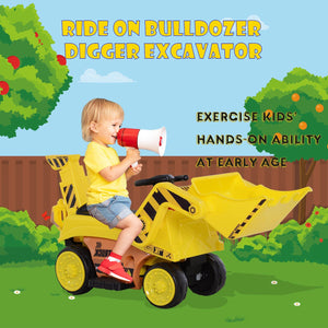 Kids Ride-On Digger Bulldozer - Yellow