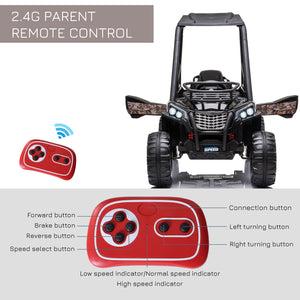 12V Kids Electric Ride On Car Off-road - Black
