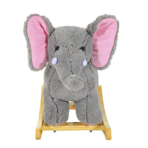 Kids Plush Ride On Elephant-Grey