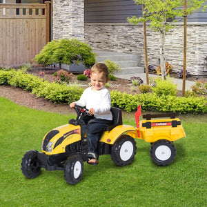Kids Pedal Go-Kart Ride-On Tractor w/ Rake on Four Wheels