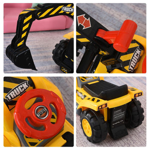 Kids 4-in-1 HDPE Excavator Ride On Truck Yellow/Black
