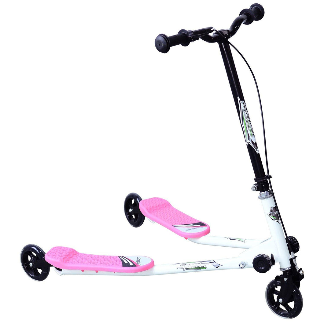 Kids 3 Wheels Foldable Scooter-Pink/White