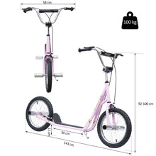 "Load image into Gallery viewer, Non-Electric Pneumatic 16"" Tyres Scooter-Pink"
