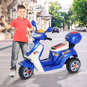 Plastic Music Playing Electric Ride-On Motorbike w/ Lights Blue