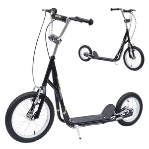"Adult Teen Push Scooter Kids Bike Bicycle Ride On Alloy Wheel Pneumatic 12"" Tyres-Black"