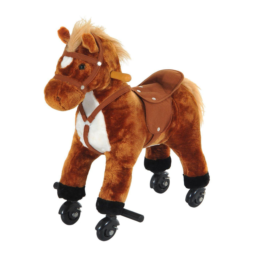 Kids Rocking Horse with Rolling Wheels and Sound-Brown