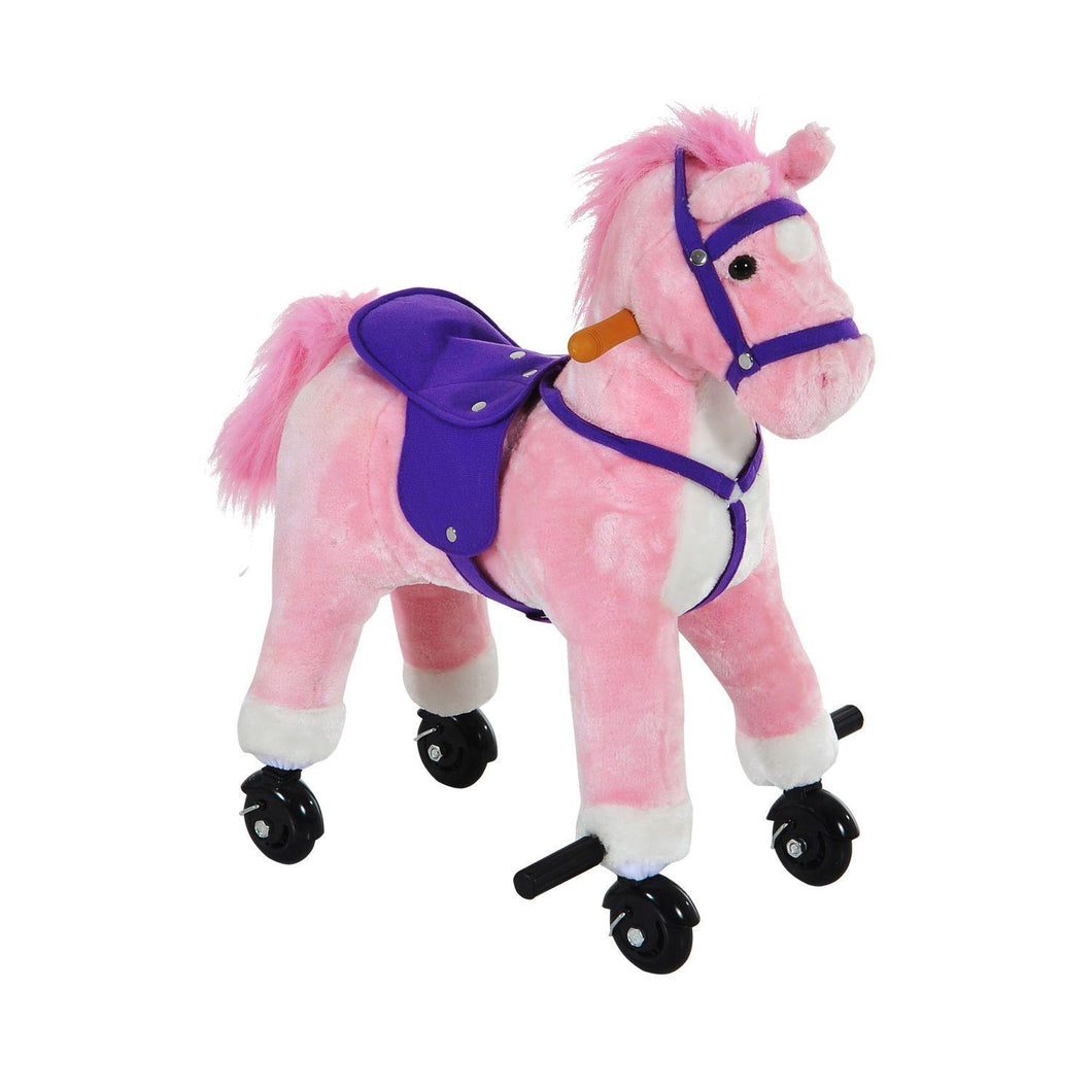 Rocking Horse W/Rolling Wheels and Sound-Pink
