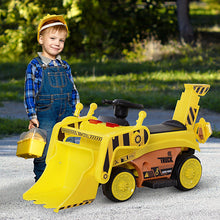 Load image into Gallery viewer, Kids Ride-On Digger Bulldozer - Yellow