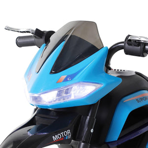 Ride On Kids Electric Motorbike Scooter 6V Battery Powered w/ Brake Lights and Music Blue
