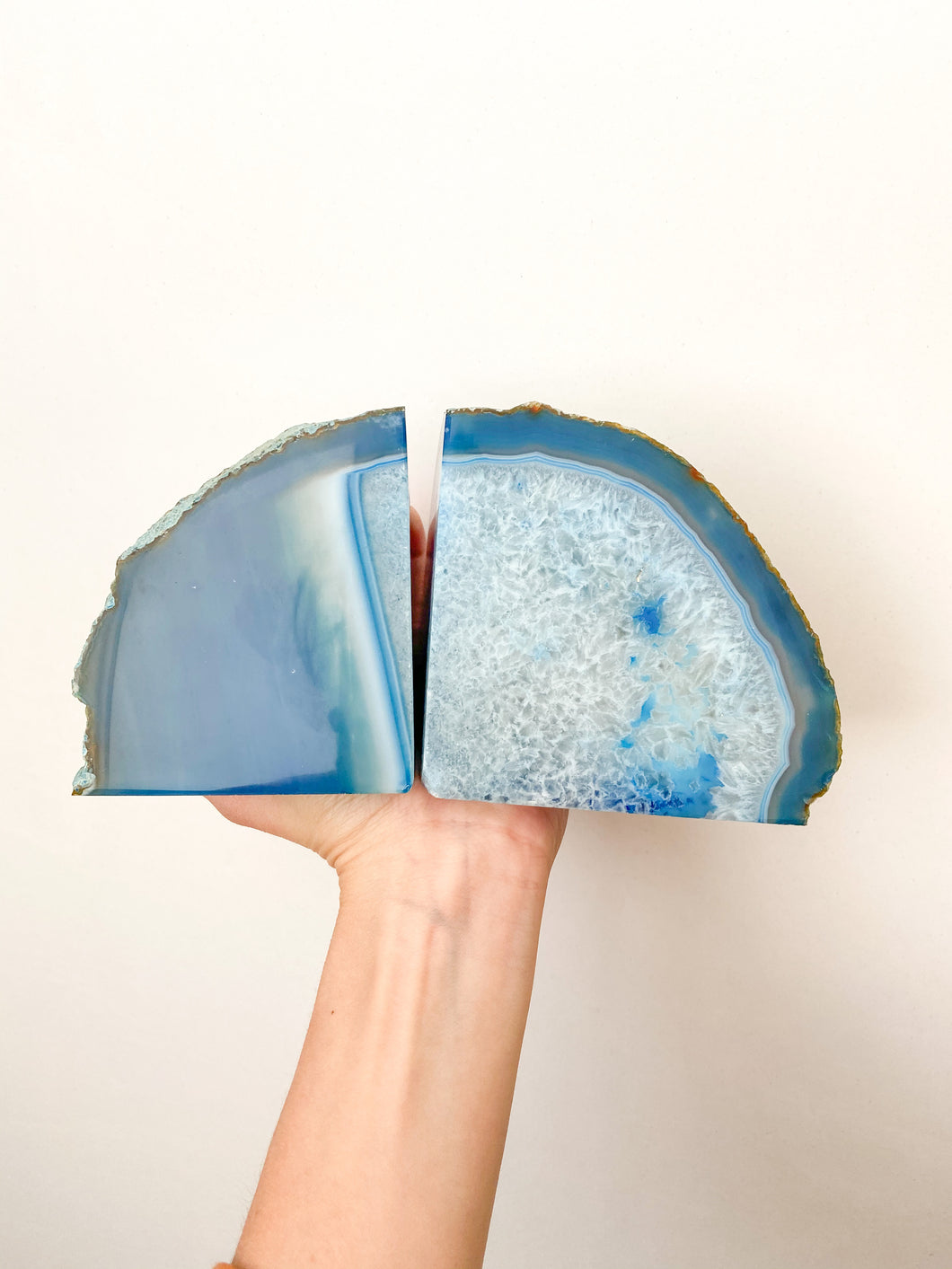 Agate Bookends - Blue