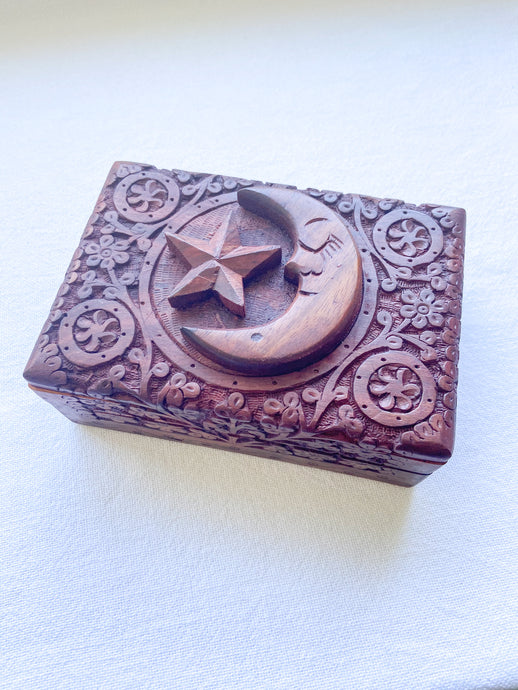 Carved Wooden Box - Star & Moon