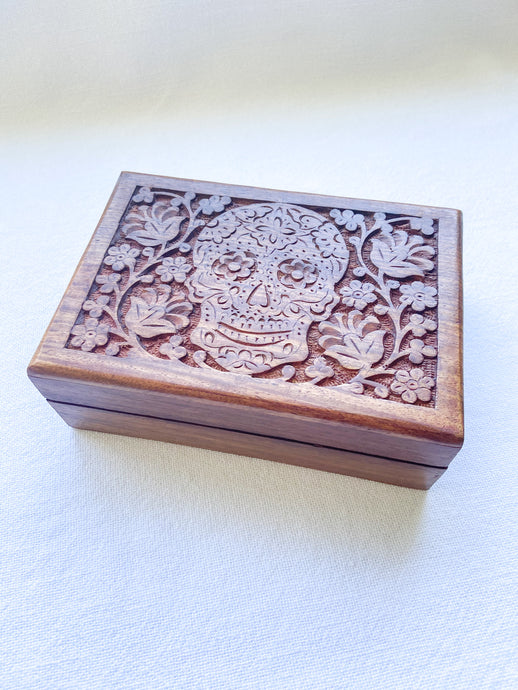 Carved Wooden Box - Candy Skull