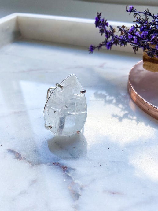 Clear Quartz Tear Drop Ring - Silver