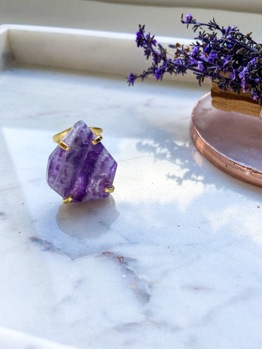 Rainbow Fluorite Ring - Gold