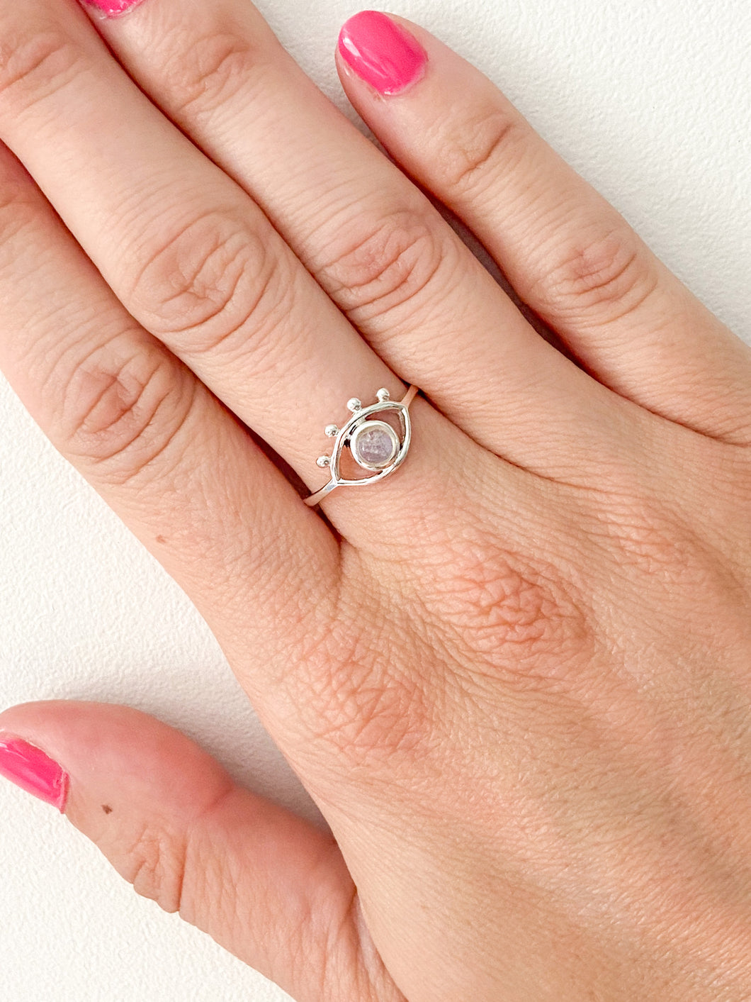 Evil Eye Moonstone Ring by Static Jewellery
