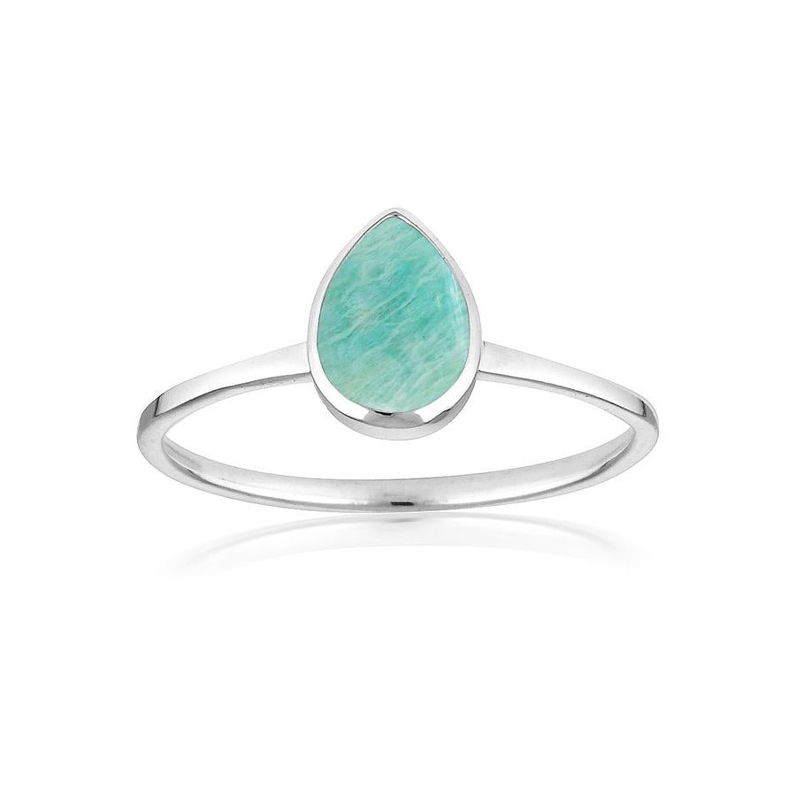 Teardrop Amazonite Ring by Static Jewellery
