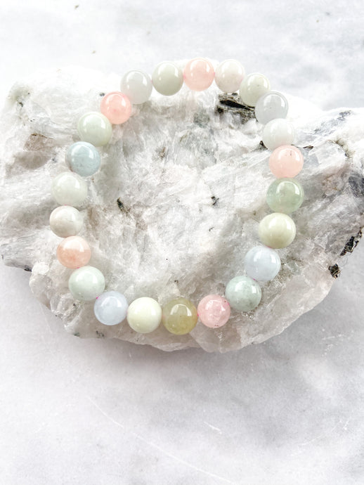 Morganite, Hiddenite and Aquamarine Bracelet