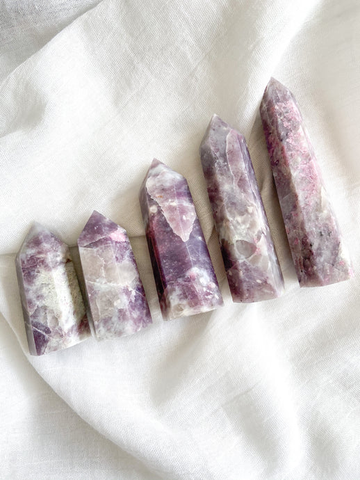 Lepidolite & Pink Tourmaline Point