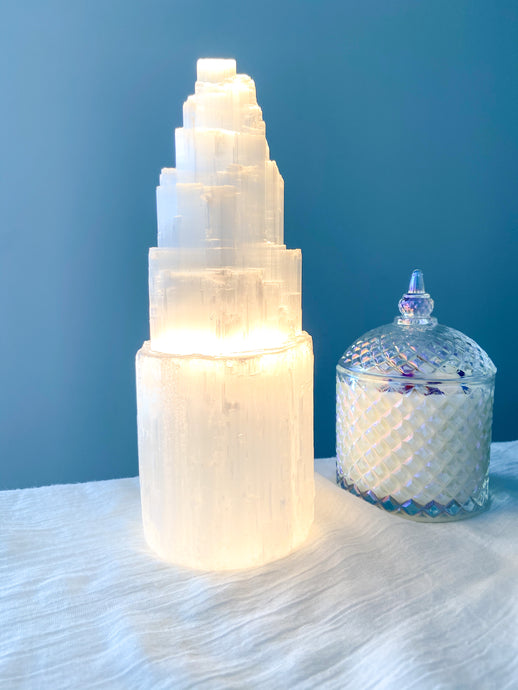 Selenite Tower Lamp - 25cm