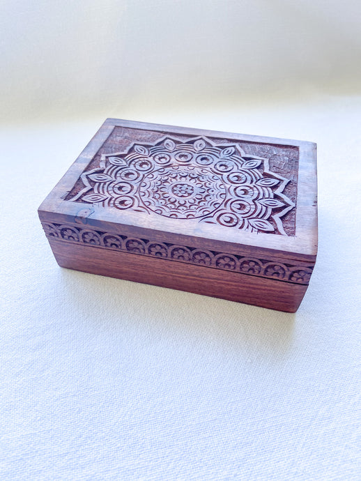 Carved Wooden Box - Mandala